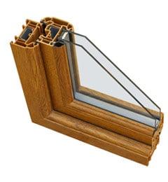 Detail PVC raam met houtnerf