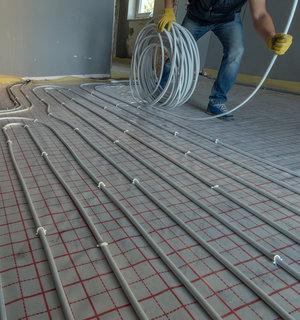 Elektrische-vloerverwarming met kabels